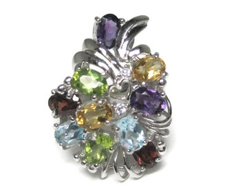 Vintage Multi Stone Sterling Bouquet Ring Size 8