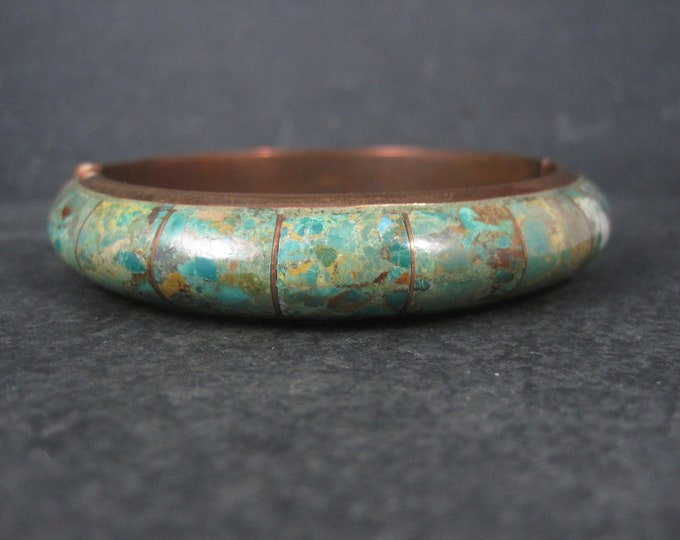 Green Turquoise Copper Bangle Bracelet Desert Rose Trading 8 Inches