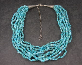 Vintage Southwestern Sterling 10 Strand Turquoise Necklace 17 Inches Carolyn Pollack