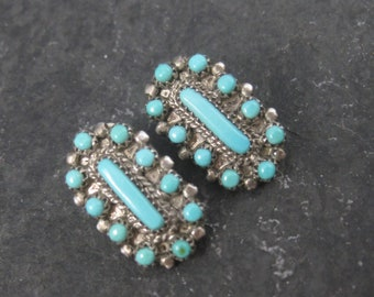 Vintage Southwestern Sterling Turquoise Clip On Earrings