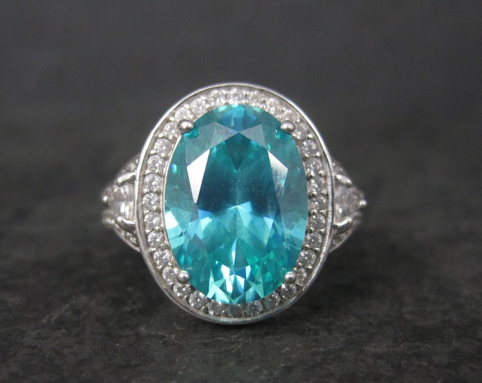 Vintage Sterling Paraiba Blue Cubic Zirconia Ring Size 7
