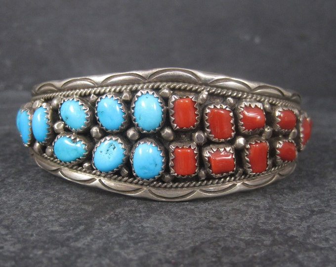 Vintage Navajo Turquoise and Coral Cuff Bracelet Anita Whitegoat 6.25 Inches