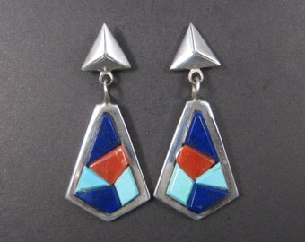 Vintage Native American Lapis Coral Turquoise Inlay Earrings Christin Wolf