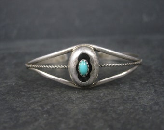 Dainty Vintage Turquoise Shadowbox Cuff Bracelet 5.5 Inches