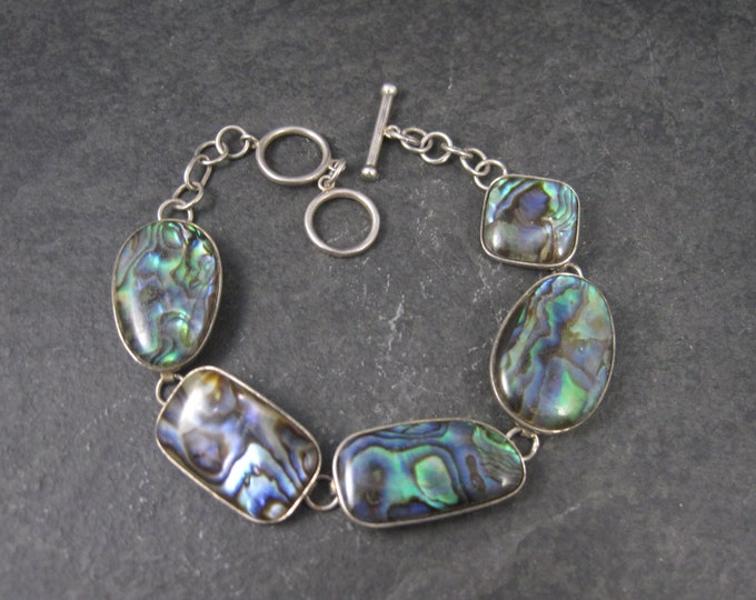 Sterling Abalone Toggle Bracelet 7 to 8 Inches