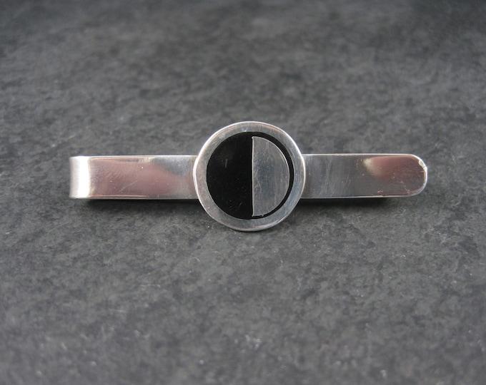 Vintage Sterling Black Enamel Tie Clip
