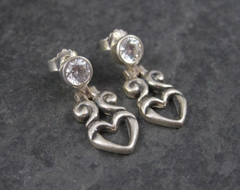 Vintage Sterling CZ Heart Earrings
