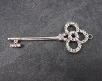 Vintage Sterling Cubic Zirconia Key Pendant
