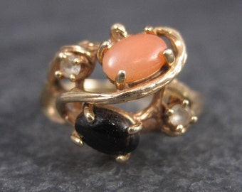 Vintage 14K Angel Skin Black Coral Ring Size 6.5