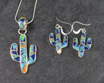 Vintage Southwestern Inlay Cactus Pendant and Earrings Jewelry Set