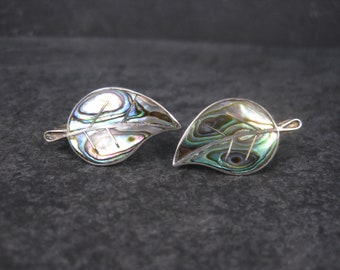 Vintage Mexican Sterling Abalone Leaf Screw Back Earrings