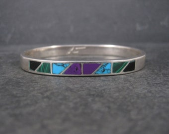 Vintage Mexican Sterling Inlay Bangle Bracelet 6.75 Inches