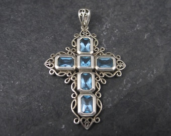 Vintage 90s Sterling Blue Topaz Cross Pendant