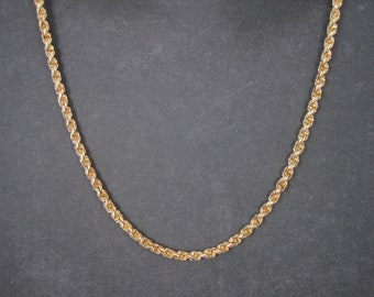 Vintage 14K Yellow Gold Twisted Rope Chain 17 Inches