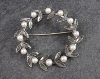 Vintage Sterling Pearl Wreath Brooch
