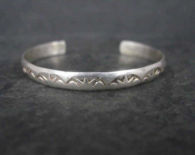 Vintage Southwestern Sterling Baby Cuff Bracelet 4 Inches