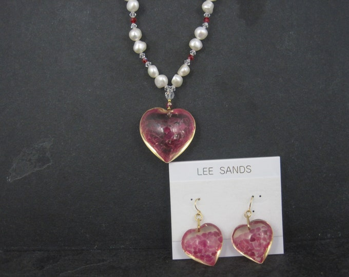 Vintage Ruby Pearl Heart Necklace Earrings Jewelry Set Lee Sands