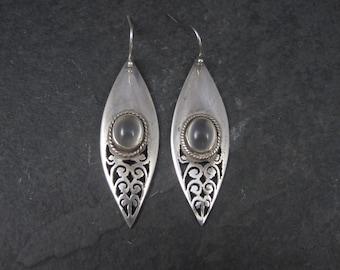 Long Vintage Sterling Moonstone Earrings