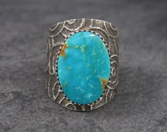 Vintage Tufa Cast Turquoise Ring Native American Size 11