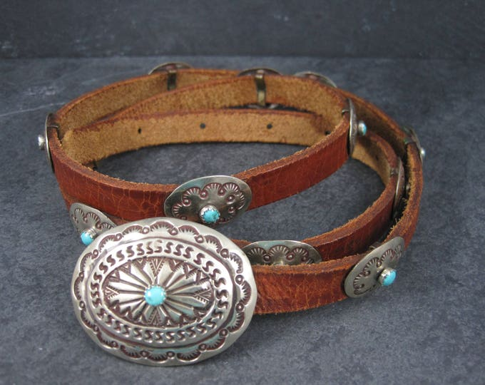Ladies Vintage Southwestern Turquoise Belt 30.5 to 34.5 Inch Waist