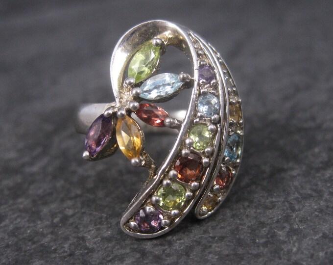 Vintage Sterling Gemstone Cluster Ring Sz 7