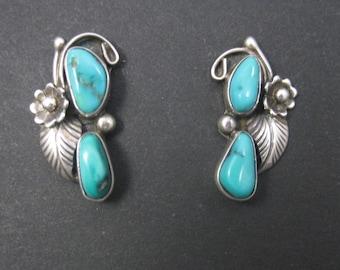 Southwestern Vintage Sterling Turquoise Earrings