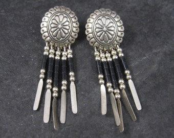 Vintage Southwestern Sterling Jet Dangle Earrings