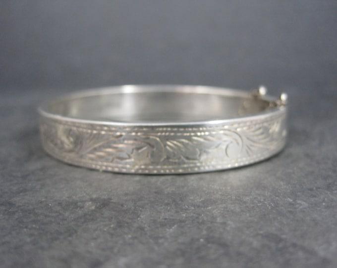 Vintage Sterling Etched Bangle Bracelet 7 Inches