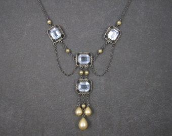Vintage Art Deco Sterling Aquamarine Glass Pearl Necklace 15 Inches