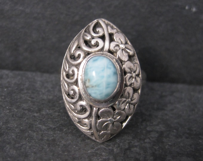 Vintage Sterling Filigree Larimar Ring Size 8