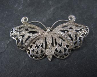 Vintage Sterling Filigree Butterfly Brooch