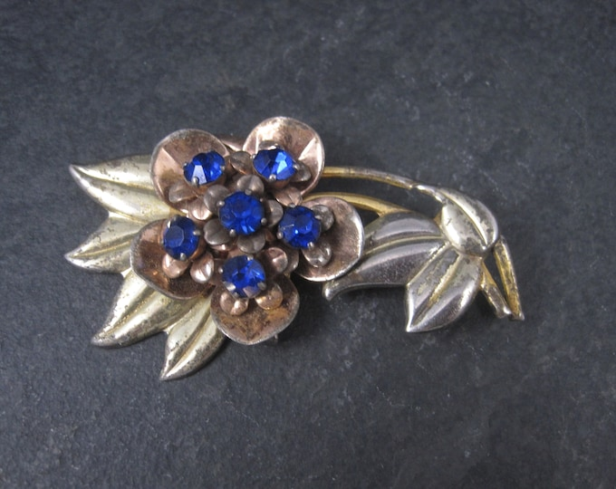 Vermeil Sterling Blue Rhinestone Flower Brooch