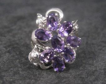 Vintage Sterling Amethyst Cluster Ring Size 7