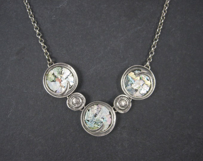 Vintage Sterling Mosaic Kaleidoscope Necklace Revital 16-18 Inches