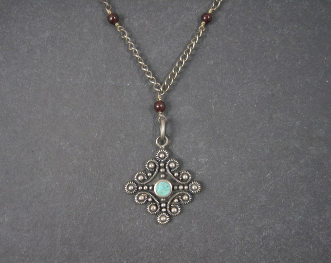 Vintage Sterling Turquoise Garnet Y Necklace 16 Inches
