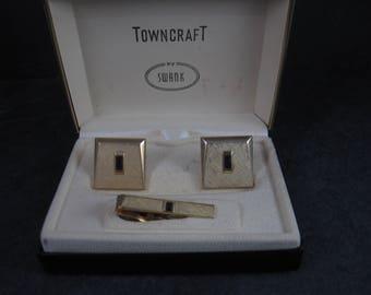 Vintage Swank Garnet Glass Cufflinks Tie Clip Set