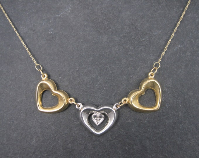 Lightweight Vintage 10K Yellow and White gold Diamond Heart Necklace