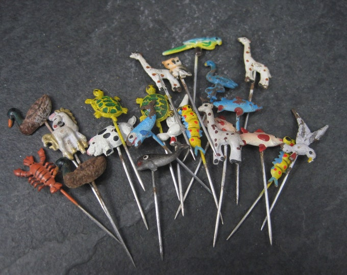 Tiny Vintage Enamel Animal Stick Pins Lot of 75+ Circa 1960s