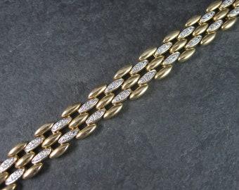Vintage Sterling Vermeil 12mm Diamond Bracelet 7.5 Inches