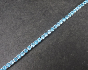 Vintage 90s Sterling December Birthstone Bracelet 7.25 Inches Something Blue Wedding Jewelry