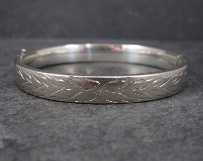 Vintage Sterling Etched Bangle Bracelet Danecraft 7 Inches
