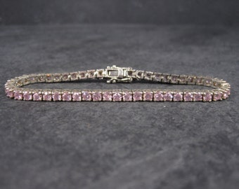 Vintage 90s Sterling Pink Ice Bracelet 7 Inches