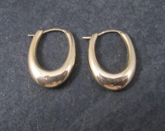 Vintage 10K Yellow Gold Elongated Hoop Earrings