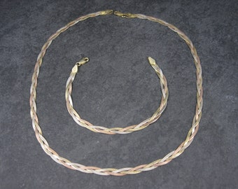 Vintage Italian Sterling Herringbone Necklace Bracelet Set