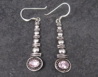 Long Sterling Pink Topaz Earrings