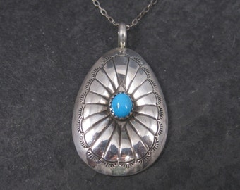 Vintage Sterling Navajo Turquoise Pendant Necklace
