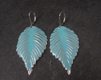 Large Turquoise Enamel Leaf Earrings Leverback