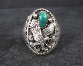 Vintage Southwestern Sterling Eagle Turquoise Ring Size 11