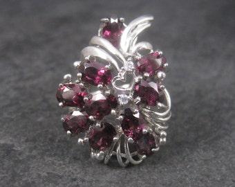 Vintage Sterling Rhodolite Garnet Bouquet Ring Size 8