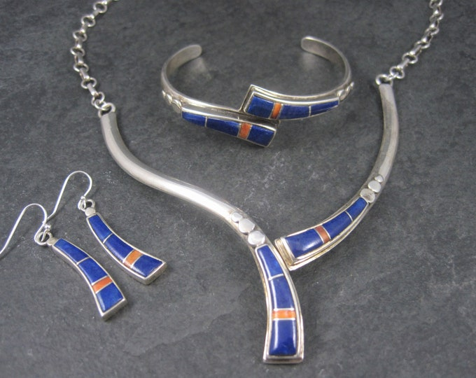 Featured listing image: Vintage Southwestern Lapis Coral Inlay Jewelry Set Necklace Cuff Bracelet and Earrings